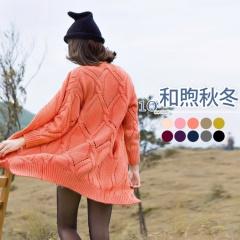 和煦氛圍~韓系粗針織修身長版外套.10色