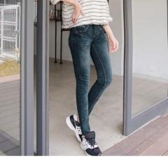 0817新品 爆瘦比例~嚴選韓版個性極修身水洗牛仔窄管褲