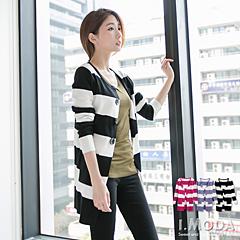 摩登品味~粗條紋美型長版開襟長版針織外套.3色