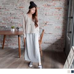 兩件式質感彈性仿毛料連袖長版洋裝.2色