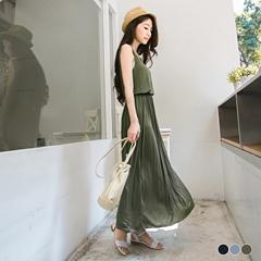 高挑身型~質感面料純色縮腰無袖長洋裝.3色