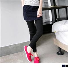 0606新品 層次美感~仿牛仔裙擺假兩件式內搭褲.2色