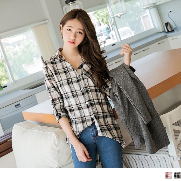 日系格紋可調反褶袖長版棉質襯衫/上衣