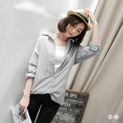 悠然清恬~雙色直紋落肩反摺袖長版襯衫.2色