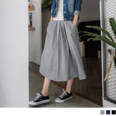 0621新品 休閒好感~柔軟純棉抽繩綁帶素色長裙‧2色
