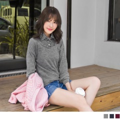 純色織紋X格紋襯衫設計上衣.3色