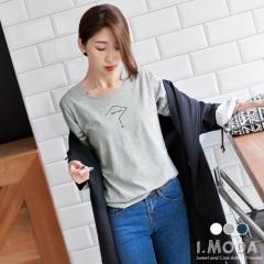 特色領口設計x簡約燙印長袖T恤.3色
