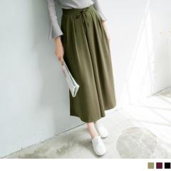 純色質感面料打摺設計寬褲.3色