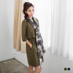 【春夏斷碼♥2件55折】純色開襟設計抽繩七分袖洋裝.2色