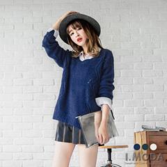 純色鏤空落肩設計針織毛衣.3色