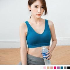 0728新品 抓皺彈性素色運動半截式背心(附襯墊.9色(M-XL)