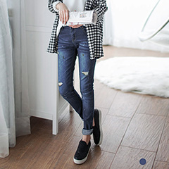 0620新品 抓皺刷色破損感潑墨設計牛仔褲