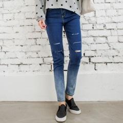 漸層染色破口設計感牛仔褲