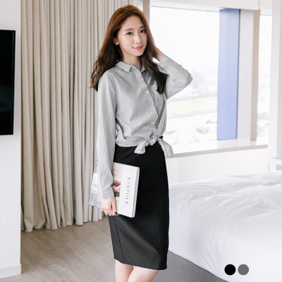 假兩件式條紋襯衫X窄裙洋裝.2色