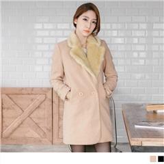 質感毛領混羊毛修身長版外套.2色