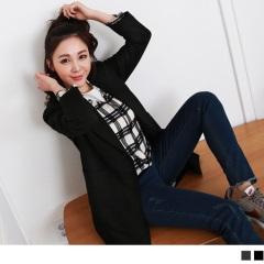 質感純色翻領雙口袋長版外套.2色