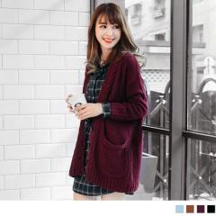 純色寬鬆感設計落肩長版針織外套.4色