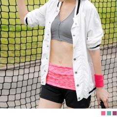 反摺混色腰頭拼接彈性運動短褲.3色