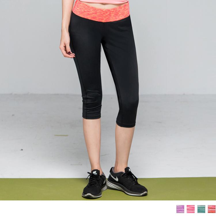 腰頭花紗撞色運動休閒彈性貼腿七分褲/瑜伽褲.4色