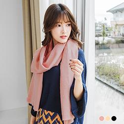 【特價款】 珍珠綴柔感素色圍巾.3色