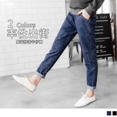 【LINE限定】牛仔拼布造型剪裁腰鬆緊哈倫褲.2色
