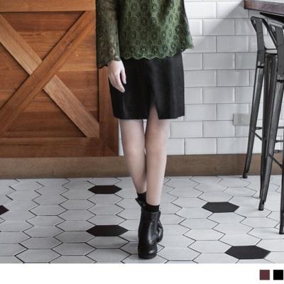 仿皮革側拉鍊開衩短裙.2色