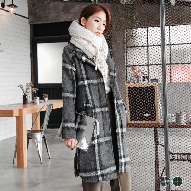 混羊毛格紋立領長版西裝外套.2色
