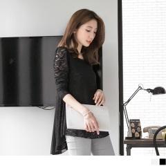 0524新品 素色裸膚蕾絲X雪紡前短後長上衣.2色