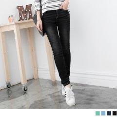 0417新品 瘦感色澤~顯瘦刷色鬆緊牛仔窄管褲‧4色