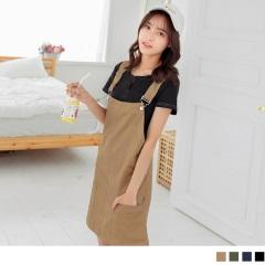 0807新品 素色平口後V領雙口袋高棉量吊帶裙.4色