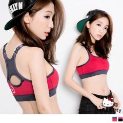 0804新品 KITTY運動系列~可調肩帶撞色半截式背心.2色