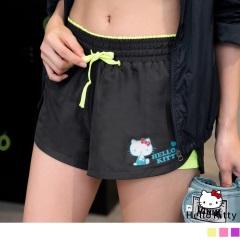 KITTY運動系列~撞色透氣彈性內裡運動短褲.3色