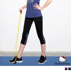 KITTY運動系列~褲腳印花彈力透氣七分運動褲.3色