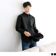 網眼補丁設計拉鏈長袖襯衫‧男3色