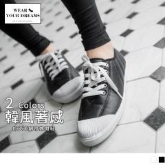 0731新品 韓系質感仿皮革綁帶休閒鞋/平底鞋.2色