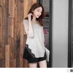 甜美風尚~雙色質感面料拼蕾絲蝴蝶結造型長版上衣.2色