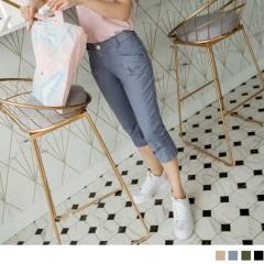 0616新品 美型百搭~拉長比例斜口袋打摺七分褲‧3色