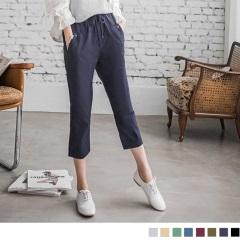 0606新品 水洗質感綁帶鬆緊七分直筒褲.6色