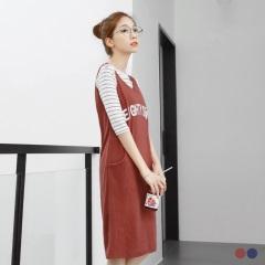 素色羅紋英文燙印背心式洋裝.2色