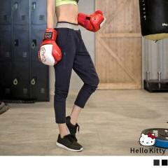KITTY運動系列~拉鍊車線造型腰圍拼色休閒褲.2色