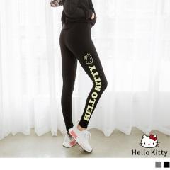 KITTY運動系列~側邊印花鬆緊貼腿褲/內搭褲.2色