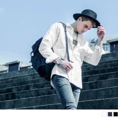 拉鏈網布拼接長袖襯衫/外套‧男3色