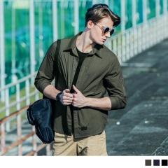 圓弧口袋造型拉鏈七分袖襯衫‧男3色