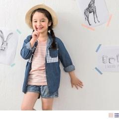 【週年慶♥童裝殺99】小樹刺繡條紋圓領短袖上衣‧童2色