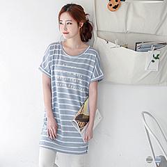 【春夏斷碼♥2件55折】英文燙印條紋面料洋裝/長版上衣.2色