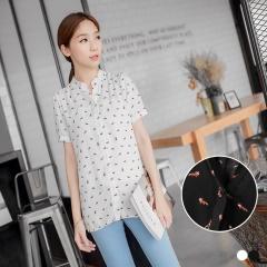 0616新品 小浣熊滿版印花立領開釦寬鬆襯衫.2色