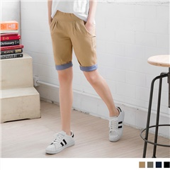 0613新品 率性休閒風格紋反折五分褲.4色