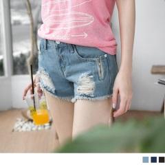 0622新品 經典破損拉鏈設計抽鬚牛仔短褲.3色