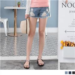 0621新品 經典破損設計抽鬚牛仔短褲.3色