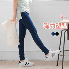 0622新品 水洗美臀設計仿牛仔鬆緊窄管褲‧2色